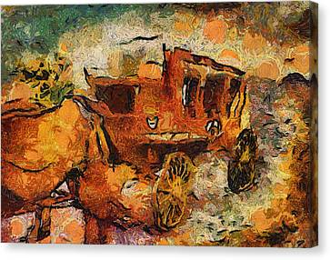 Stagecoach West Hot Day On The Trail Canvas Print