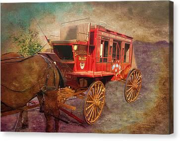 Stagecoach West Textured Canvas Print