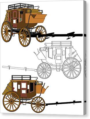 Stagecoach Without Horses - Color Sketch Drawing Canvas Print by Nenad Cerovic