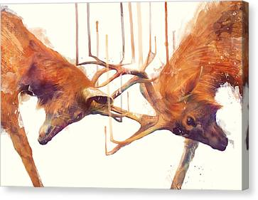 Fauna Canvas Print - Stags // Strong by Amy Hamilton