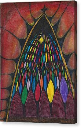Stain Glass Window Drawing Canvas Print by Cim Paddock