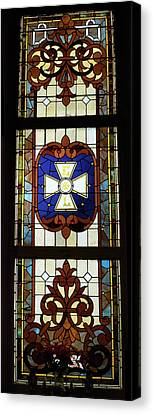 Stained Glass 3 Panel Vertical Composite 01 Canvas Print by Thomas Woolworth