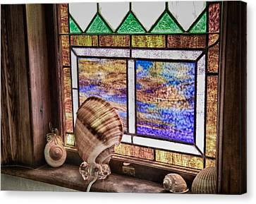 Stained Glass At Linekin Chapel 2 Canvas Print by John Hoey
