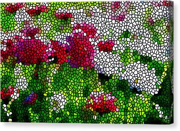 Stained Glass Chrysanthemum Flowers Canvas Print by Lanjee Chee