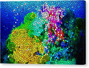 Tropical Colors Stain Glass Canvas Print - Stained Glass Coral Reef by Lanjee Chee