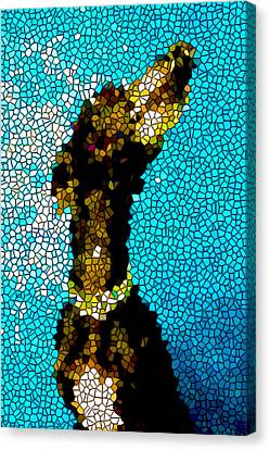 Stained Glass Doberman Pinscher Dog Canvas Print by Lanjee Chee