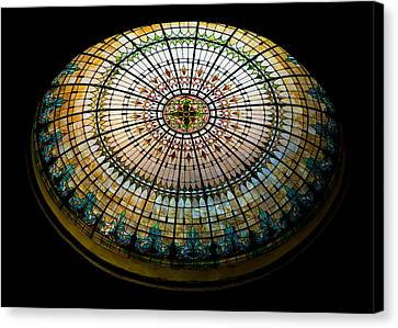 Turquoise Stained Glass Canvas Print - Stained Glass Dome - 1 by Stephen Stookey