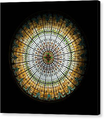 Turquoise Stained Glass Canvas Print - Stained Glass Dome - 2 by Stephen Stookey