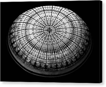 Turquoise Stained Glass Canvas Print - Stained Glass Dome - Bw by Stephen Stookey