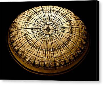 Turquoise Stained Glass Canvas Print - Stained Glass Dome - Sepia by Stephen Stookey