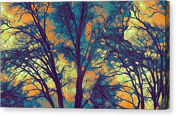 Turquoise Stained Glass Canvas Print - Stained Glass Forest No. 6 by Douglas MooreZart