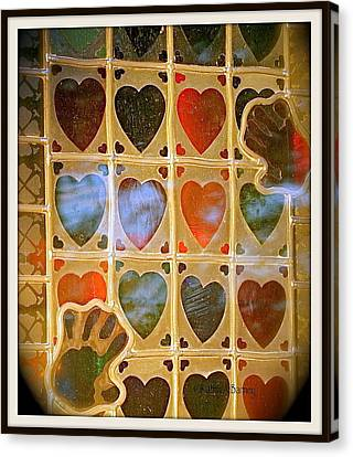 Canvas Print featuring the photograph Stained Glass Hands And Hearts by Kathy Barney