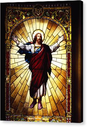 Stained Glass Jesus Canvas Print by Mountain Dreams
