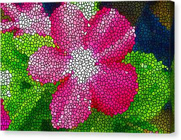 Stained Glass Madagascar Periwinkle 1 Canvas Print by Lanjee Chee