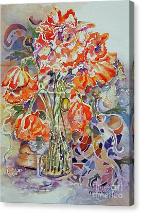 Canvas Print featuring the painting Stained Glass by Mary Haley-Rocks