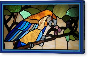 Stained Glass Parrot Window Canvas Print by Thomas Woolworth