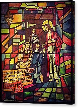 Stained Glass Proverbs 16 Verse 3 Canvas Print by Zech Browning