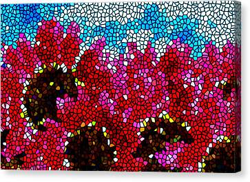 Stained Glass Red Sunflowers Canvas Print by Lanjee Chee