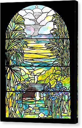 Stained Glass Tiffany Holy City Memorial Window Canvas Print by Donna Walsh