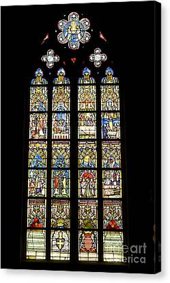 Stained Glass Window In Medieval Catholic Church Canvas Print by Patricia Hofmeester