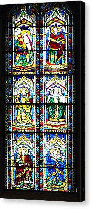 Stained Glass Window Of Santa Maria Del Fiore Church Florence Italy Canvas Print