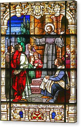Stained Glass Window Saint Augustine Preaching Canvas Print by Christine Till