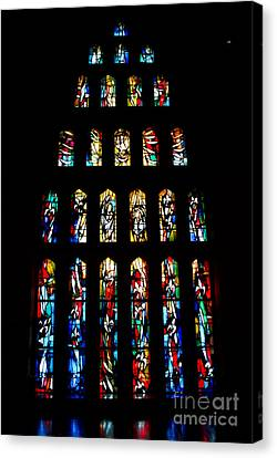 Stained Glass Windows At Basilica Of The Annunciation Canvas Print by Eva Kaufman