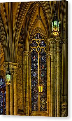 Stained Glass Windows At Saint Patricks Cathedral Canvas Print by Susan Candelario