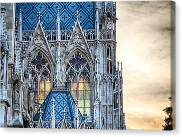Stained Glass Windows Of Votive Church Canvas Print by Viacheslav Savitskiy