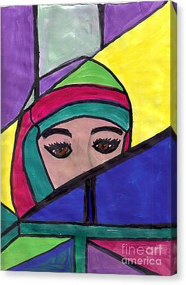 Stained Glass Woman Canvas Print by Debbie Wassmann