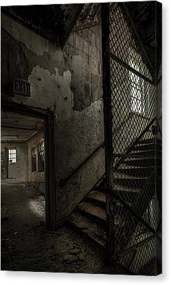 Ghost Story Canvas Print - Stairs And Corridor Inside An Abandoned Asylum by Gary Heller