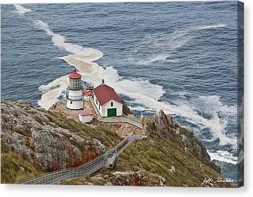 Canvas Print featuring the photograph Stairway Leading To Point Reyes Lighthouse by Jeff Goulden