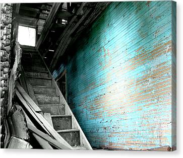 Stairway To Abandoned Canvas Print by Amy Sorrell