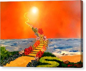 Canvas Print featuring the painting Stairway To Heaven by Michael Rucker