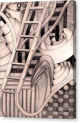 Canvas Print featuring the drawing Stairway To.... by John Stuart Webbstock