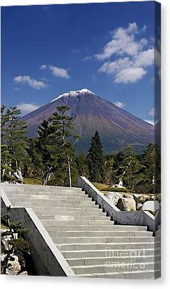 Canvas Print featuring the photograph Stairway To Mt Fuji by Ellen Cotton