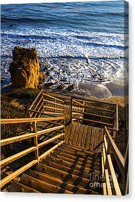 Canvas Print featuring the photograph Steps To Blue Ocean And Rocky Beach by Jerry Cowart