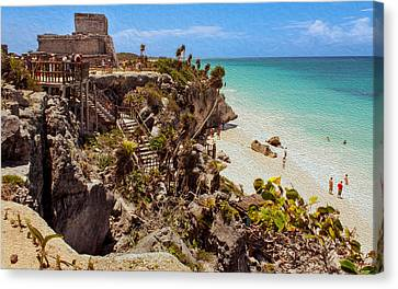 Stairway To The Tulum Beach  Canvas Print by John M Bailey