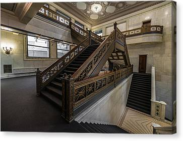 Stairwell Chicago Cultural Center Canvas Print by Steve Gadomski