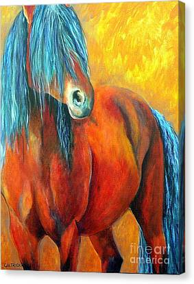 Canvas Print featuring the painting Stallions Concerto  by Alison Caltrider