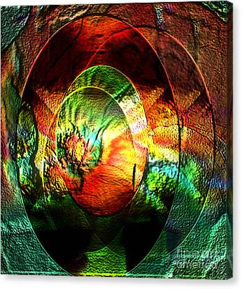Stamped Mirror Of Love Canvas Print by Gayle Price Thomas
