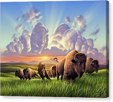 Stampede Canvas Print by Jerry LoFaro