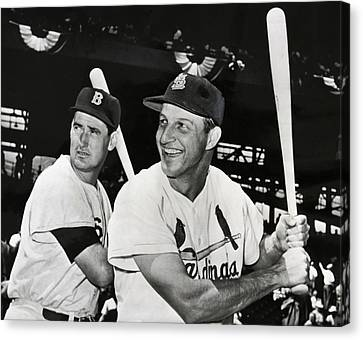 Stan Musial And Ted Williams Canvas Print by Daniel Hagerman