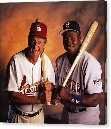 Stan Musial And Tony Gwynn Canvas Print by Retro Images Archive