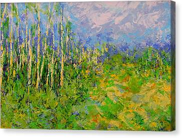 Stand Of Birch Canvas Print by Kat Griffin