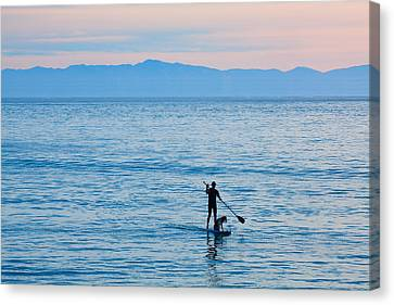 Canvas Print featuring the photograph Stand Up Paddle Surfing In Santa Barbara Bay California by Ram Vasudev