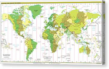 Standard Time Zones Of The World Canvas Print by Pg Reproductions