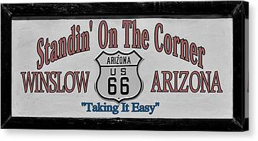 Road Sign Canvas Print - Standin' On A Corner In Winslow Arizona by Christine Till
