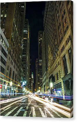 Sunset Canvas Print - Standing In Traffic In New York City by David Morefield