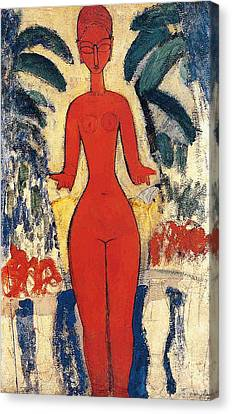 Standing Nude Canvas Print by Amedeo Modigliani